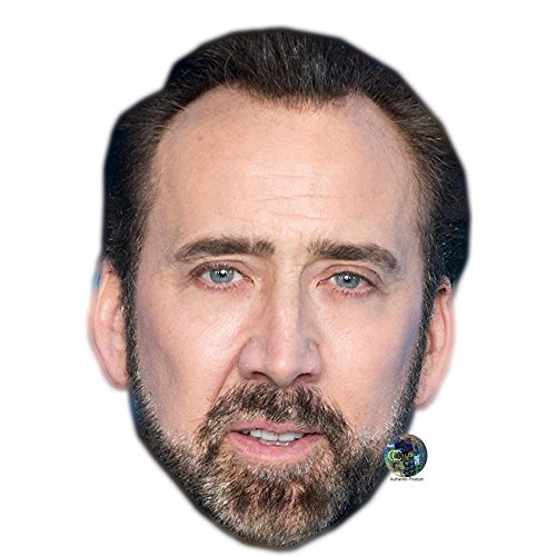 Nicolas Cage (Beard) Celebrity Mask, Flat Card Face, Fancy Dress Mask