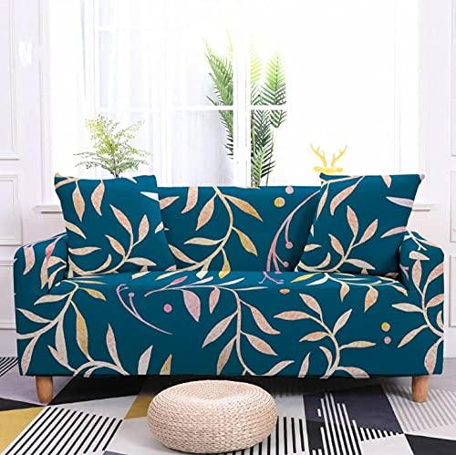 Fundas de Sofá Elastica 2 PlazasPatrón de Hoja Azul Funda Cubre Sofa Regalar 2 Funda de Cojines Funda para Sofá Funda de sofá de Sillón Antideslizante Protector Cubierta de Muebles