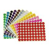 Pegatinas Colores,16mm Etiquetas Autoadhesivo 16 Colores/Hoja Redondo Etiquetas de Codificación para Calendarios Manual de Oficina 1440 Piezas