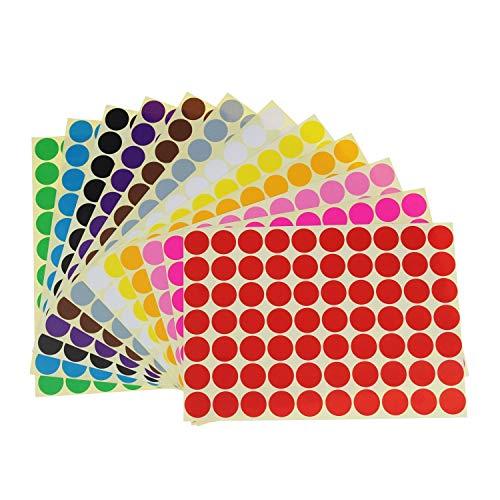 Rmeet Etichette Adesive Colorate,19mm Etichette Autoadesive Rotonde 16 Colori/Fogli Autoadesive Bollini DOT 1120 Pezzi per Calendari Ufficio Manuale