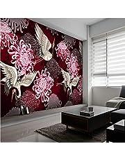 fotobehang bos 150x80cm Woonkamer slaapkamer moderne muurschilderingen XXL panorama behang woondecoratie vliesbehang muurschilderingen Rood bloemen dieren roodgekroonde kraanvogels