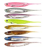 Dr.Fish Lot 6 Soft Lures Wobble Tail Minnow Lure Dropshot Soft Plastic Bass Fishing Trout Fishing...