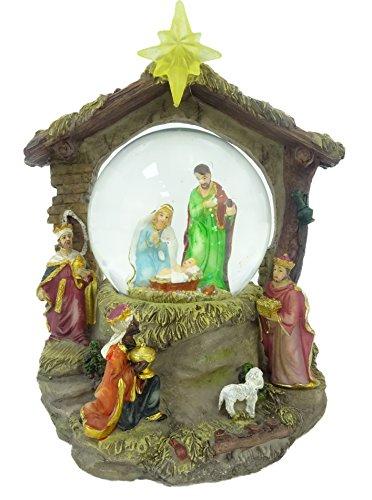 Christmas Concepts® Décoration de résine de Noël Musicale de 18cm Décoration de nativité Globe d'eau + Changement de Couleur des lumières LED
