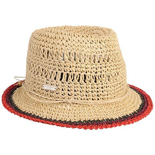 Seeberger Rollable Crochet Trilby Strohhut Damenhut Sommerhut Sonnenhut (One Size - rot)