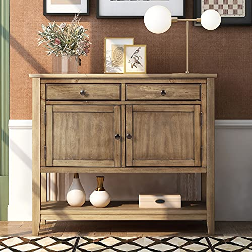 Knocbel 39in Console Table with Storage Drawers, Cabinets and Open Shelf, Entryway Hallway Dining Room Buffet Sideboard, 99lbs Weight Capacity (Brown)