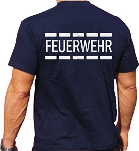 Feuer1 T-shirt avec motif de pompiers en argent réfléchissant M bleu marine