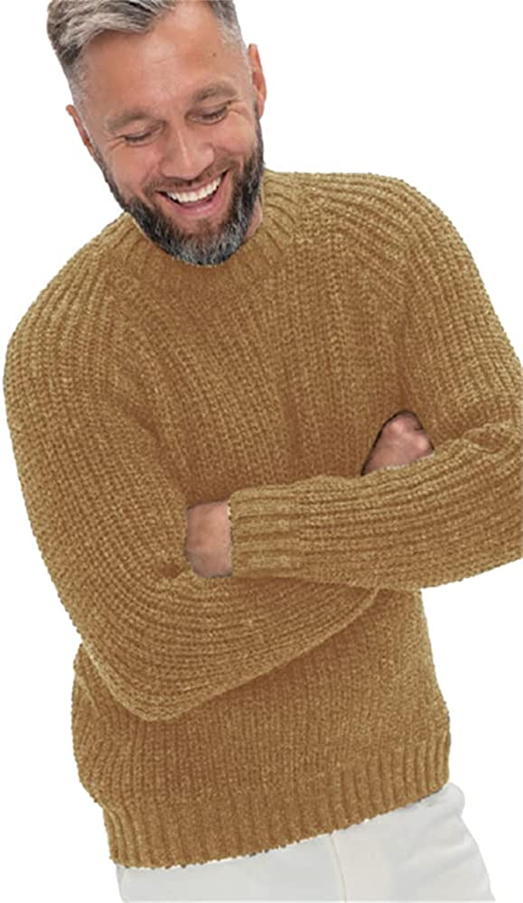 Aoysky Mens Casual Ribbed Slim Fit Knitted Pullover Crewneck Sweater