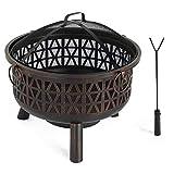 VonHaus Geo Fire Pit - Decorative Outdoor/Garden Black Steel Bowl Heater with Spark Guard & Poker