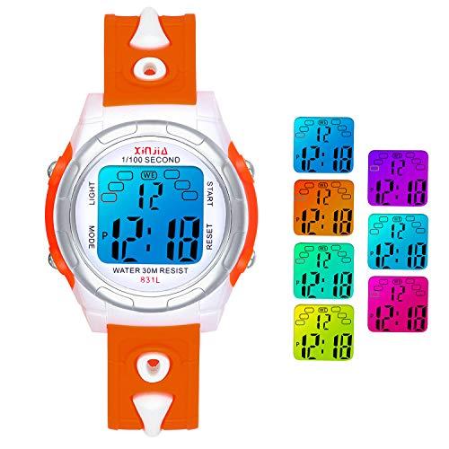 Digitales Relojes para Niñas Niños,7 Colores Reloj Infantil de Pulsera LED Niños Deportes Impermeables Multifuncionales para Exteriores con Cronómetro/Alarma para Edades de 4-15 (Naranja-831)