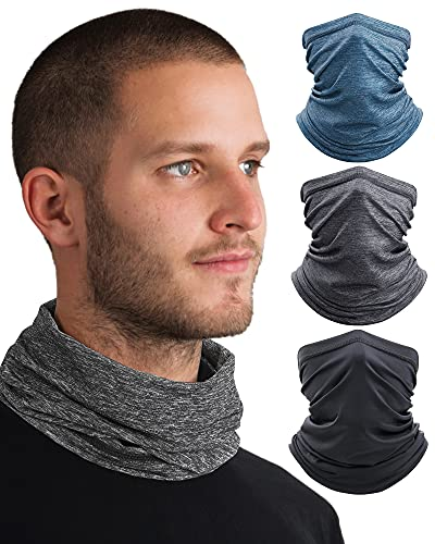 OMDEX Cooling 3pcs Neck Gaiter, UPF 50 Face Cover - UV Sun Protection Gaiter Windproof Gaiter Sun Bandanas Breathable Scarf with Filter for Women & Men & Kids Outdoor Sports