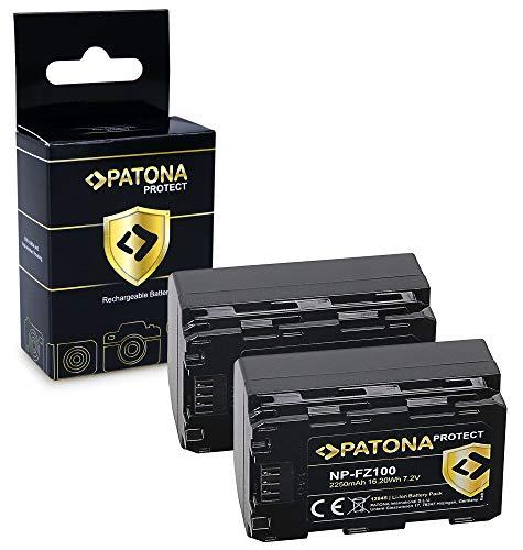 PATONA 2X Protect Batterie NP-FZ100, boîtier V1 Compatible avec Sony Alpha 6600, A9, A9 II, A7R III, A7 RIV