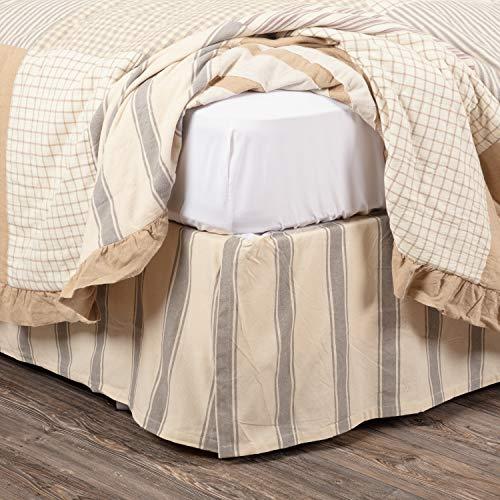 VHC Brands Boho & Eclectic Farmhouse Bedding-Grace White Skirt, King (40485)