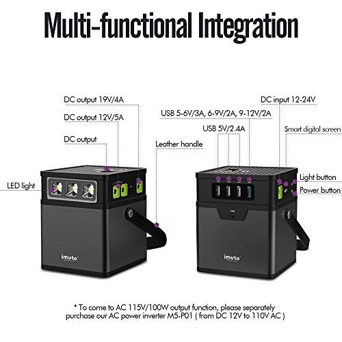 imuto 182Wh 50000mAh Portable Power Station Camping Generator 8-Port DC 5V/12V/19V Output, AC Power Inverter Optional 110V/100W(Peak 160W) Power Source for Laptop, Tablet, Smartphone, Outdoors More