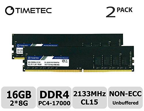 Timetec Hynix IC DDR4 2133MHz PC4-17000 Unbuffered Non-ECC 1.2V CL15 288 Pin UDIMM Desktop Memorie Module Upgrade (16GB (8GBx2) (Single Rank))