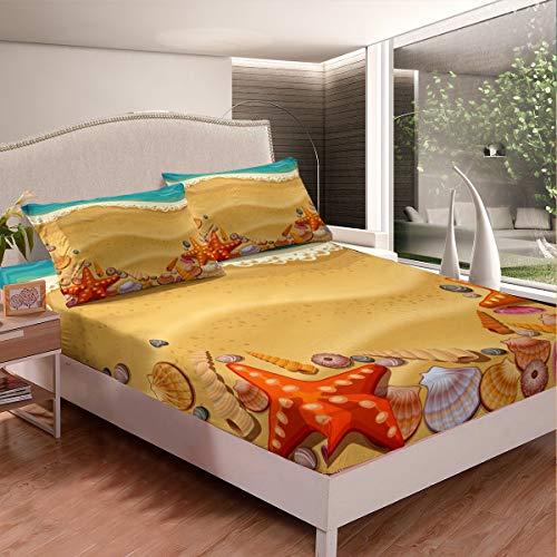 Loussiesd Juego de cama para niñas y niños con temática oceánica marina, sábana bajera decorativa para criaturas del mar, juego de sábanas de doble tamaño 3 piezas