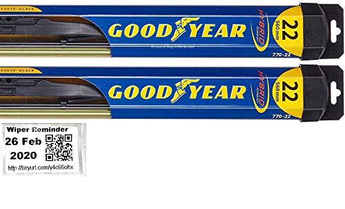 Hybrid - Windshield Wiper Blade Set/Kit/Bundle for 2000-2008 Jaguar S-Type - Driver & Passenger Blades & Reminder Sticker