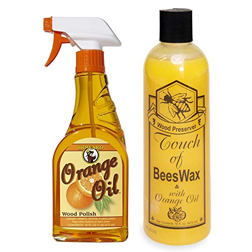Howard Orange Oil Wood Cleaner Plus Touch of Beeswax Wood Preserver and Conditioner | Beeswax Furniture Polish and Conditioner with Orange Oil | Feed Into Hardwood, Restore and Protect Cabinets
