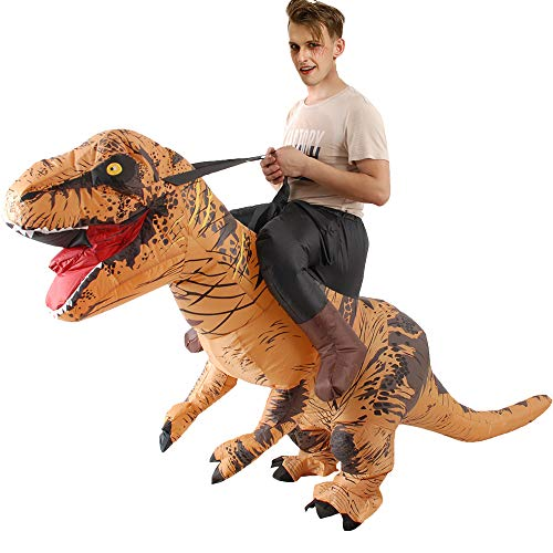 Inflatable Dinosaur Costume for Adults Dress Suit Christmas Party/Halloween Party(Brown)