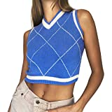 Argyle Sweater Vest Plaid Crop-Tops - Y2K Fashion Cropped Sweaters Knit E-Girls Preppy Style 90s Sleeveless Sweaters Vest Blue