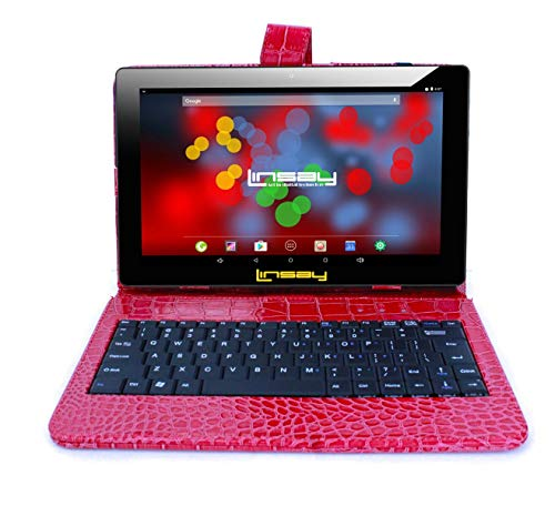 """LINSAY 10.1"""" 1280x800 IPS Screen Quad Core Tablet 16GB with Red Crocodile Style Keyboard Case"""