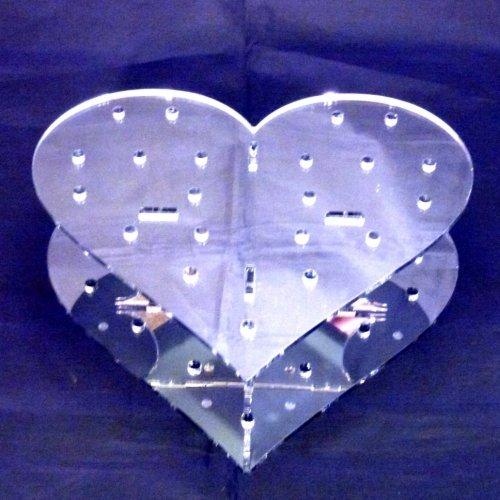 Supercoola skapelser hjärtformade spegeltårta popstativ 200 mm bred x 65 mm hög x 160 mm djup 15 hål 5 cm ungefär isär, akrylsilver, 21 x 20 x 10 cm