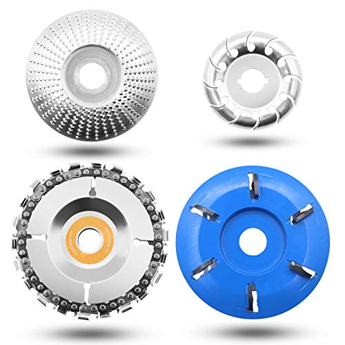 Carving Disc for Angle Grinder,12 Teeth Wood Polishing Shaping Disc,6 Teeth Wood Turbo Carving Disc,22 Teeth Grinder Chain Disc for Woodworking Sanding Carving Shaping Polishing Grinding