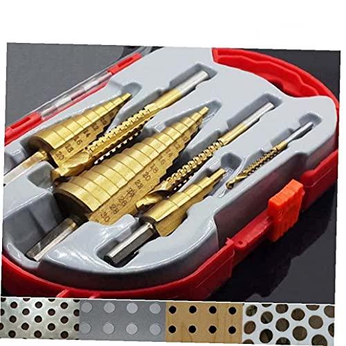 6pcs Paso Taladro Kit de Acero HSS Titanio Paso Broca Conjunto Metales Agujero Cortador 4-12/20/32 mm con el Centro automática ponche de perforación Agujero consideró Herramienta para Madera Negro