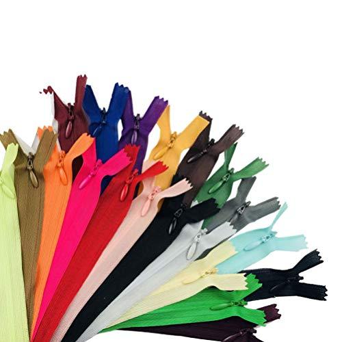 SUPVOX 50 piezas 60 cm cremalleras nylon invisible ocultar cremalleras multicolor cremalleras cerradas para coser (color mezclado)