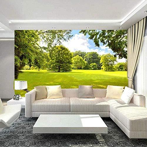 VGFGI Papel tapiz fotográfico 3D tridimensional verde árbol césped sol paisaje natural Mural sala de estar dormitorio Fondo pared 3D Mural papel tapiz-500cm(W) x300cm(H)