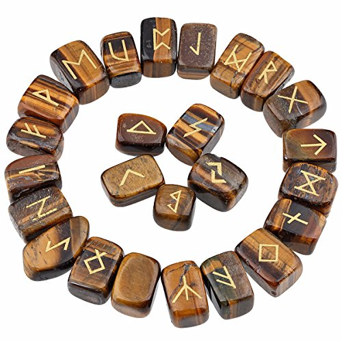 rockcloud Tiger's Eye Rune Stones Tumbled Engraved Lettering Crystal Set for Wicca Crystals Healing Chakra Reiki