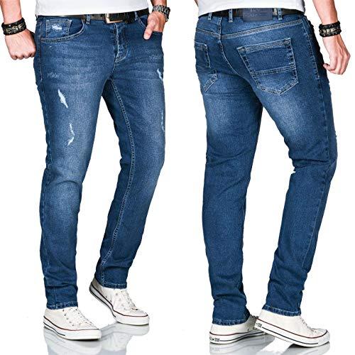 A. Salvarini Herren Stretch Jeans Hose Basic Slim Fit Pants [AS-163-Dunkelblau-W33 L30]