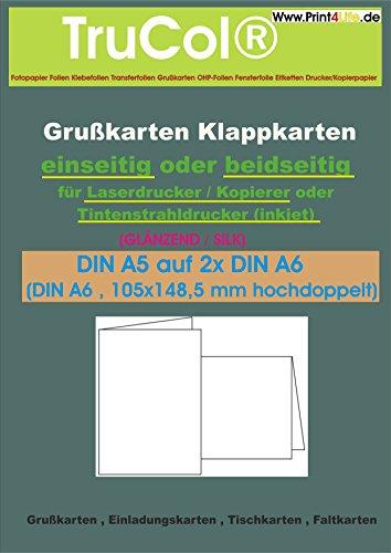 50 Klappkarten weiß BEIDSEITIG glänzend 115g /m² ; Grußkarten ; Einladungskarten ; Tischkarten ; Faltkarten, usw. DIN A6 , 105x148,5 mm hochdoppelt; Bis 9600 DPI ; wasserfest & lichtecht; Ein beidseitig hochglänzendes Fotopapier, welches sich durch die hohe Konturenschärfe und die einzigartige Farbbrillanz auszeichnet und für höchste Auflösungen nur für Tintenstrahldrucker bestens geeignet ist !