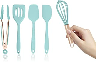 COOK WITH COLOR Set of Five and Rose Gold Silicone MINI Kitchen Utensil Set Aqua