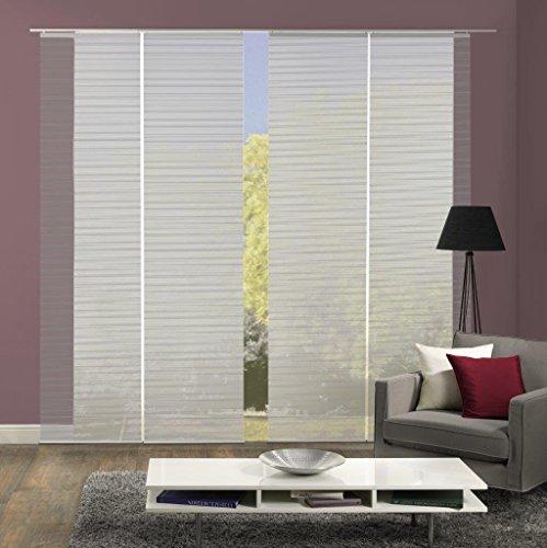 Vision S 94401 | 4er-Set Schiebegardine ROM | halb-transparenter Stoff in Bambus-Optik | 4X 260x60 cm | Farbe: (grau)