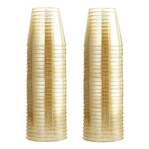 Glitter Plastic Cups, Gold Glitter Disposable Cups 9 oz. 100 Pack, Clear Plastic Cups Old Fashioned Tumblers, Recyclable Wine Glasses for Parties, Elegant Plastic Party Cups Wedding Decorations