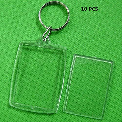 10 stks/partij rechthoek transparant leeg invoegen foto fotolijstje met sleutelhanger DIY Split Ring Gift