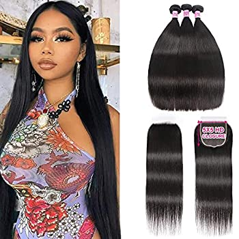 UNice Hair HD Lace Closure 5x5 Human Hair Lace Closure with 3 Bundles Peruvian Straight Hair 100% Transparent Lace Closure Invisible Knots  20 22 24+18inch