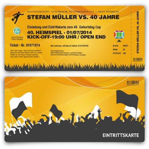 Einladungskarten zum Geburtstag (60 Stück) als Fussballticket Einladung Ticket Fußball Orange