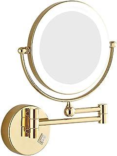 Wall-Mounted Vanity Mirrors,Extendable Bathroom Makeup Mirror,Folding Wall Hanging lamp Mirror Bathroom Telescopic Mirror, 3 Times Magnification Bathroom Mirror - Gold