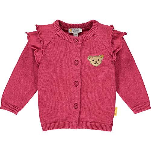 Steiff Baby-Mädchen mit süßer Teddybärapplikation Strickjacke, Carmine, 062