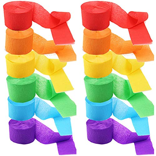 Regenbogen Farbe Krepp Papier Luftschlangen Kreative 2 Sätze DIY Dekorative Streamer Papier Hintergrund Dekorationen für Halloween Weihnachtsfest Hochzeit Geburtstagsfeier 4,5 cm*25 m,3 Rollen pro Set