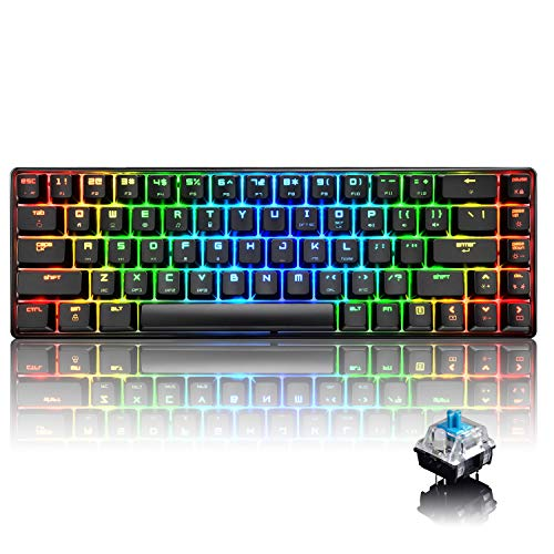 60% True Mechanical Gaming Keyboard Type C Wired 68 Keys LED Backlit USB Waterproof Keyboard 18 Chroma RGB Lighting Backlight Full Anti-ghosting Keys for Gamers and Typists (Black/Blue Switch)