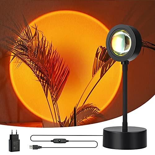 Wonantorna Sunset Lampe, Sunset Projection Lamp, Sonnenuntergang Lampe, 360 ° Drehbar USB【mit Ladegerät】Dekoration Lampe LED für Fotografie Selfie Schlafzimmer Wohnzimmer Party Bar Dekor - Sunset Rot