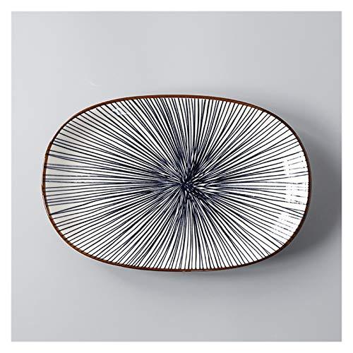 Fengshop Plato de cena de cerámica japonesa Plato de pescado vajilla rectangular grande para el hogar, plato de ensalada creativa y platos de postre al vapor (color: Q)