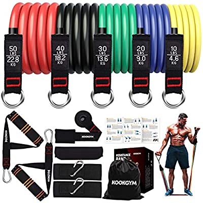 KOOKGYM Resistance Bands Set, 5 Exercise Bands with Handles, Training Tube with Door Anchors and Ankle Straps, Fitness Resistance Bands, Physical Therapy, Home Exercises, Yoga, Pilates (150 lbs)