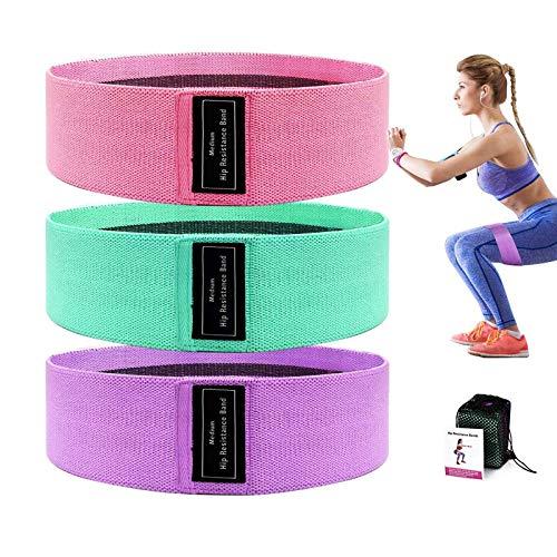 MINCHEDA Bande di Resistenza in Tessuto 3 Pezzi, Fasce Elastiche Fitness Antiscivoli per Yoga, Pilates, Physiotherapy, Riabilitazione Fisico