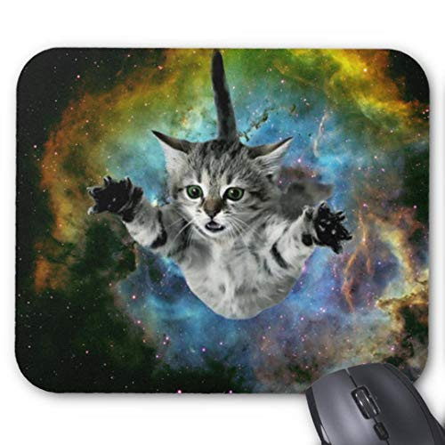 Galaxy cat Supernova Kitten Launch mouse pad Custom Mouse Pad Waterproof Material Non-Slip Rubber Mouse Pad(9.45x7.87x0.08inch) for Office Desktop or Gaming Mouse Mat Keyboard Pad