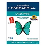 Laser Print Office Paper, 3-Hole Punch, 98 Brightness, 24lb, Ltr, White, 500/Rm, Sold as 2 Ream