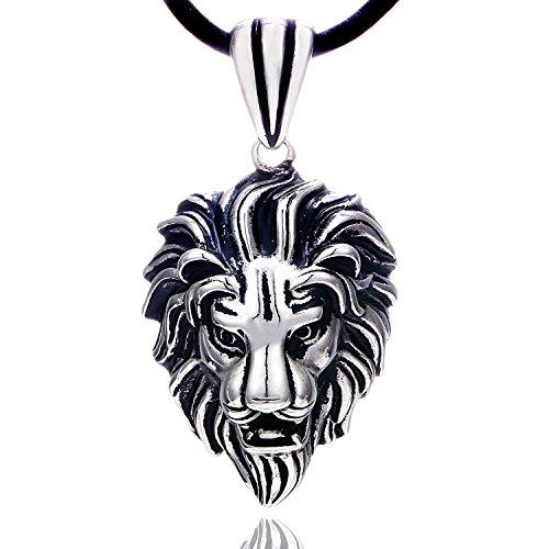 DonDon Collar de Cuero para Hombre 50 cm con Colgante de Acero Inoxidable Leo leòn