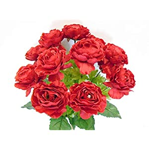 18″ Bouquet Ranunculus Red Bush 12 Artificial Silk Flowers LivePlant